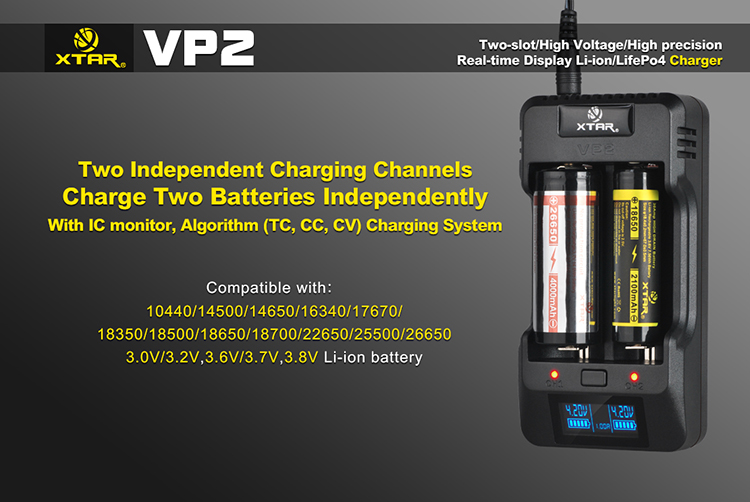 Xtar charger VP2 batteries charger 2 bay charger with LCD