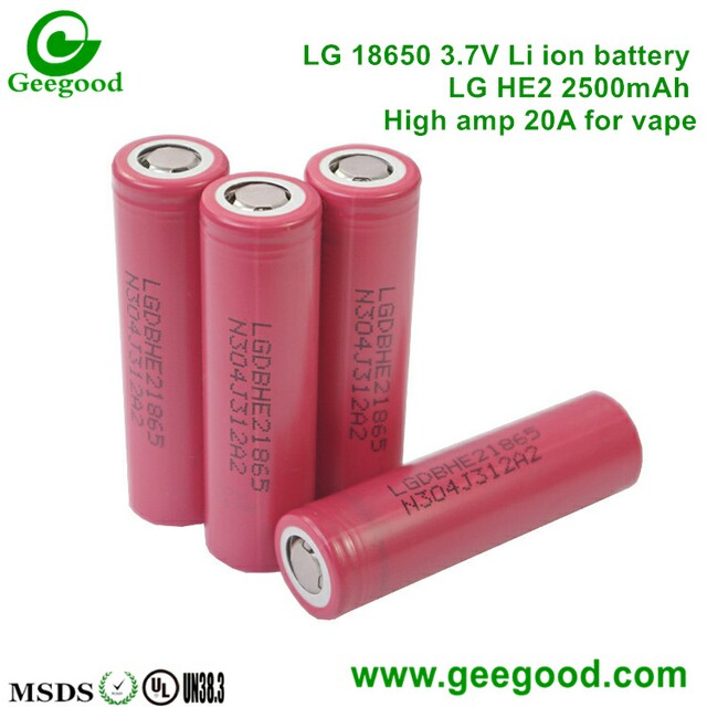 LG HE2 2500mAh 20A LG 18650 3.7V lithium battery HE2 for vape / E-cig