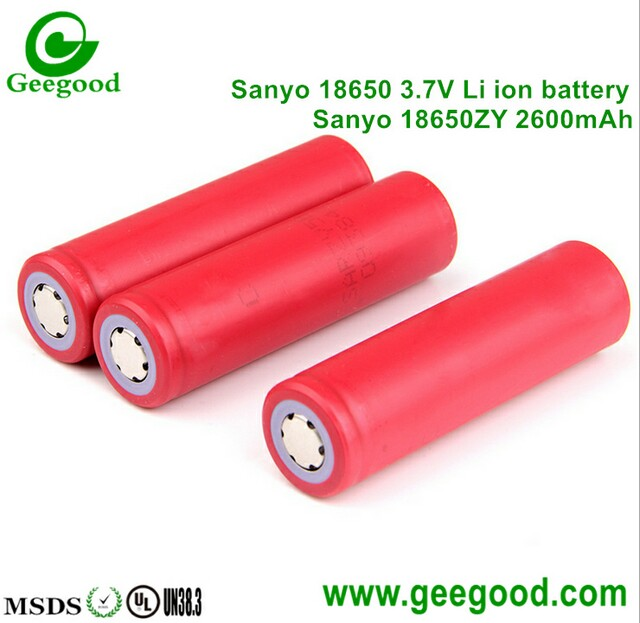 Sanyo 18650ZY 2600mAh 18650 3.7V lithium ion rechargeable battery