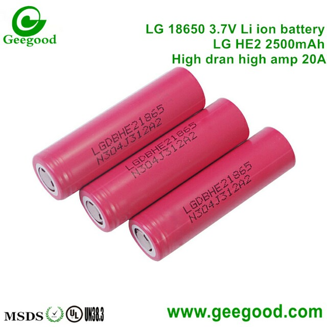 LG HE2 2500mAh 20A 18650 3.7V lithium battery for vape / E-cig / Mod / Power tools