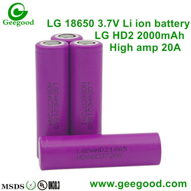 LG HD2 HD2C 2000mAh 2100MAH 25A 18650 3.7V lithium battery vape battery