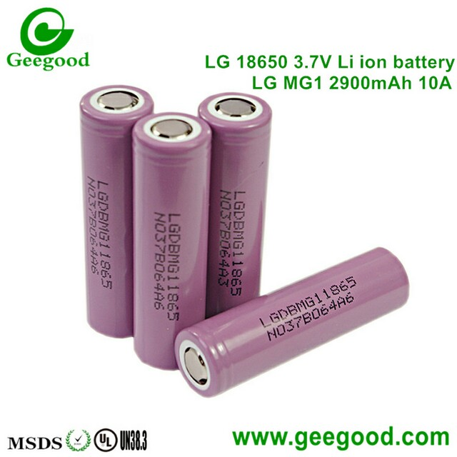 LG MG1 2900mAh 10A LG 18650 rechargeable 3.7V lithium ion battery 1865 LG
