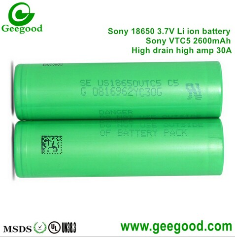 Sony VTC5 2600mAh 30A 3.7V batteries high amp 18650 for vape