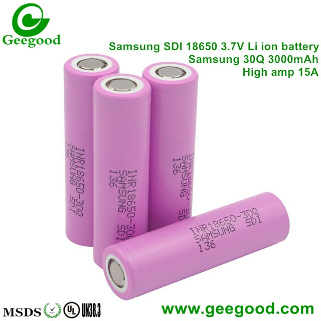 Samsung 30Q 3000mAh 15A 3.7V 18650 battery for vape / power tools