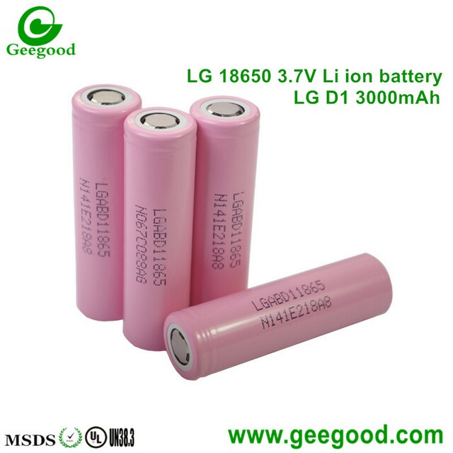 LG D1 D2 3000mAh high capacity 18650 3.7V li-ion batteries