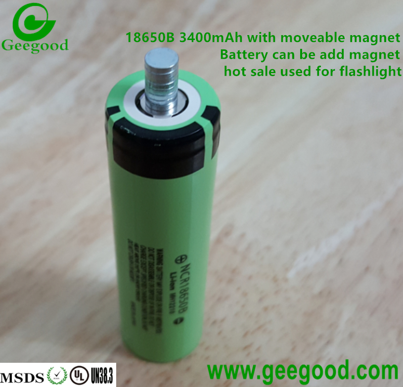 18650 3.7V Li-ion rechargeable batteries with magnet used for flashlight