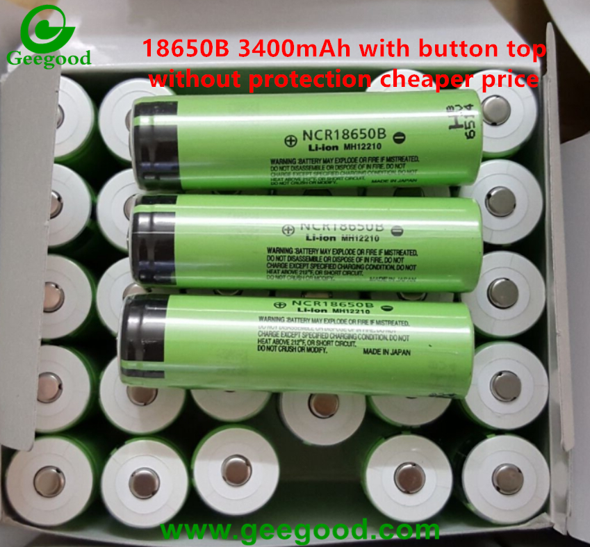 Panasonic 18650B 3400mAh with protection button top for high end flashlight / torch