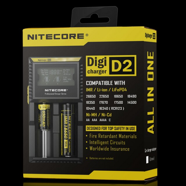 Nitecore charger D2 two bay battery charger with LCD screen