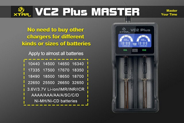 2 bay charger Xtar VC2 Plus with LCD screen intelligent battery charger