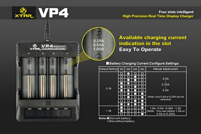 Xtar charger VP4 / battery charger /4 bay charger