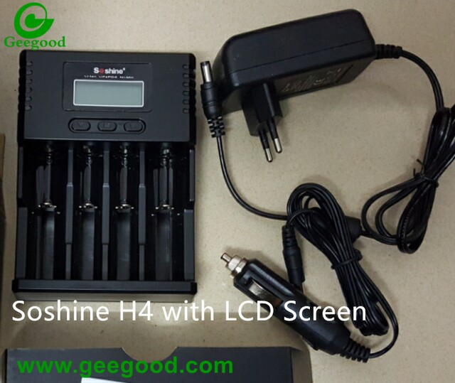 Soshine H4 battery charger LCD screen charger 4 bay charger
