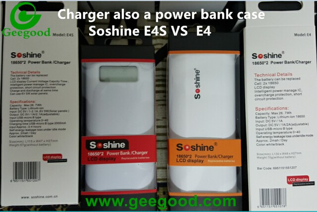 Soshine E4 E4S 2 bay battery charger and power bank case