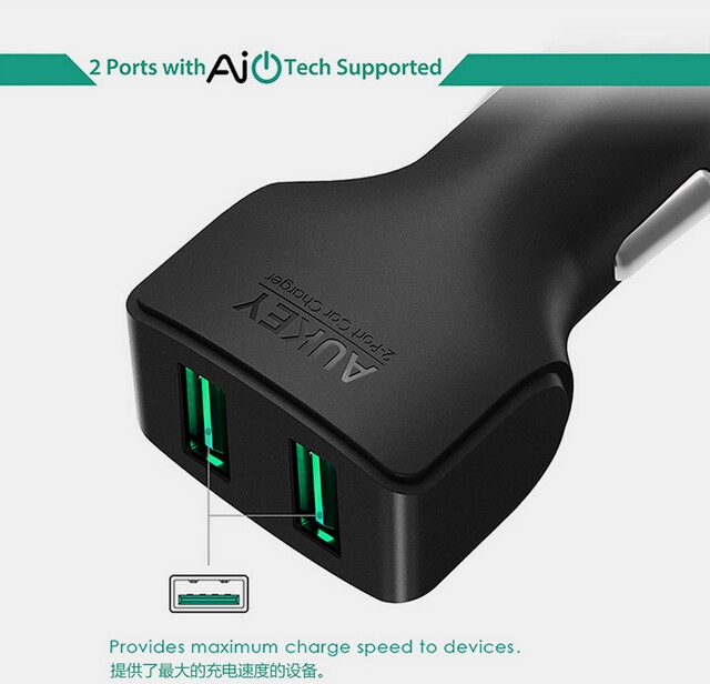 Aukey QC2.0 QC3.0 dual USB quick charge Universal USB quick charge car charger CC-S3