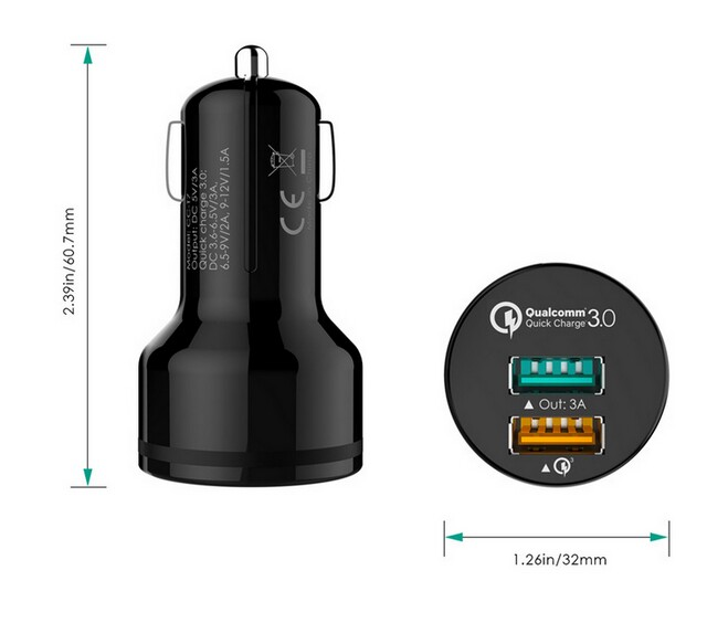 Aukey QC2.0 QC3.0 dual USB quick charge Universal USB2.0 USB3.0 quick charge car charger CC-T7