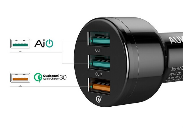 Aukey car charger CC-T11 QC2.0 QC3.0  3 in one USB2.0 usb3.0 quick charge car charger