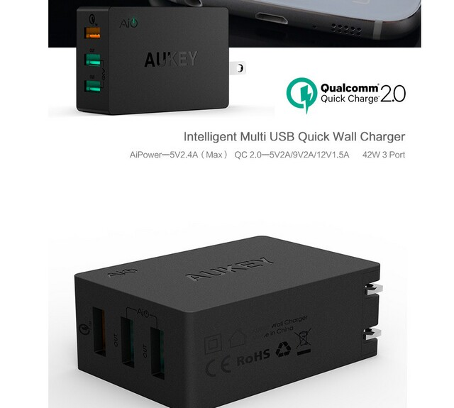 Aukey PAT-1 aipower USB quick charger universal travel USB2.0 usb3.0 quick charger wall charger