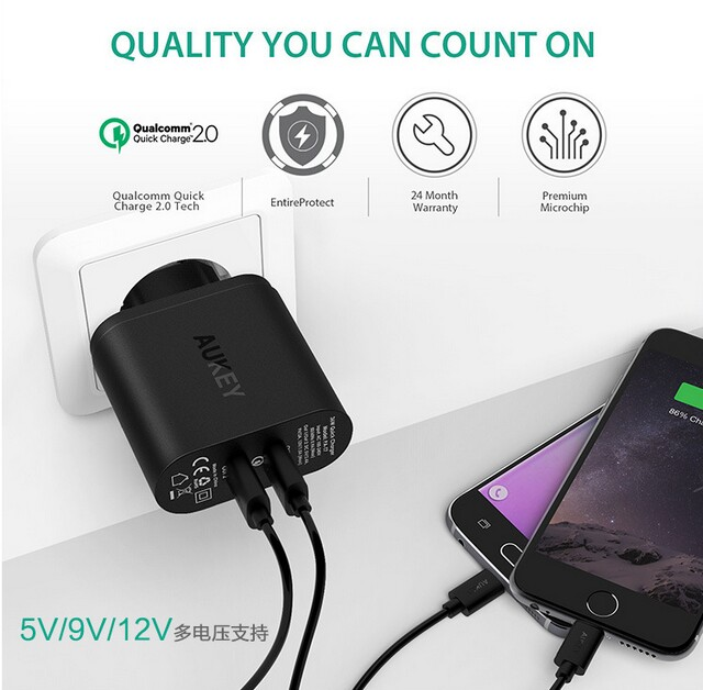 Aukey AIPOWER USB2.0 3.0 universal travel dual usb quick charge wall charger PA-T7