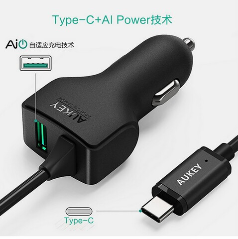 Aukey car charger CC-Y4 QC2.0 QC3.0  dual USB2.0 usb3.0 TYPE C quick charge car charger