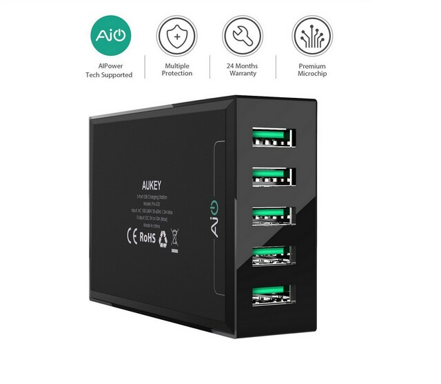 Aukey PA-U33 5 usb super quick charge QC2.0 QC3.0 USB2.0 USB3.0 fast wall charger station