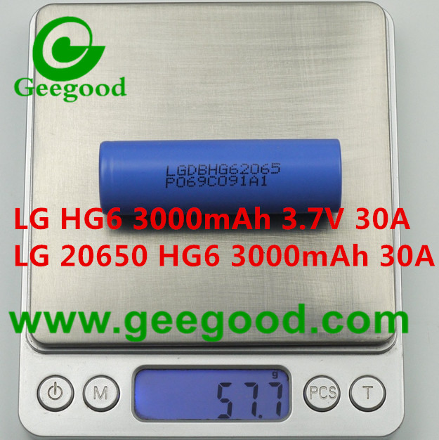 LG HG6 3000mAh 30A high power battery LGDBHG62065 20650 power battery