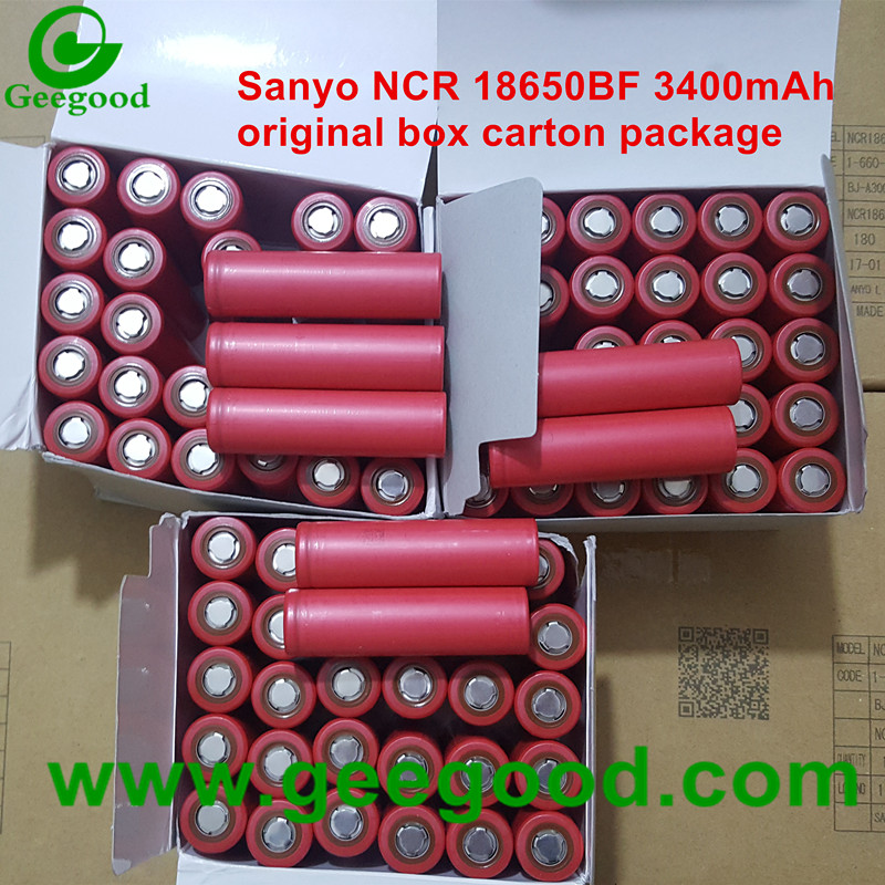 Japan Sanyo NCR18650BF 3400mAh high capacity 18650 3.6V lithium ion battery