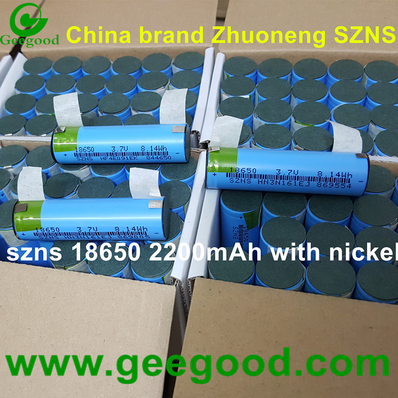 China Zhuoneng SZNS 18650 3.7V 8.14Wh 2200mAh battery with Nickel strip tabs