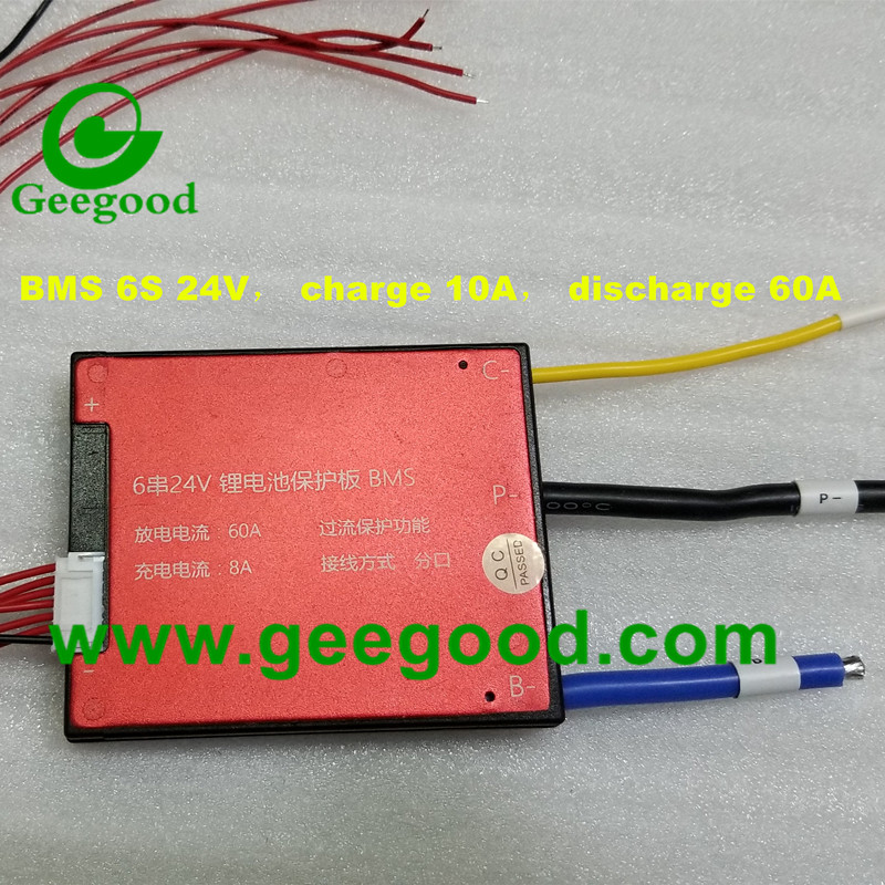 6S 24V max charge 10A  discharge 60A PCB PCM BMS protection automatic Cell Balance
