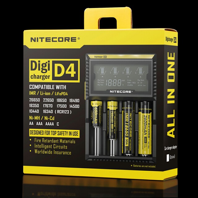 Nitecore charger D2 2 bay D4 4 bay battery charger with LCD screen display