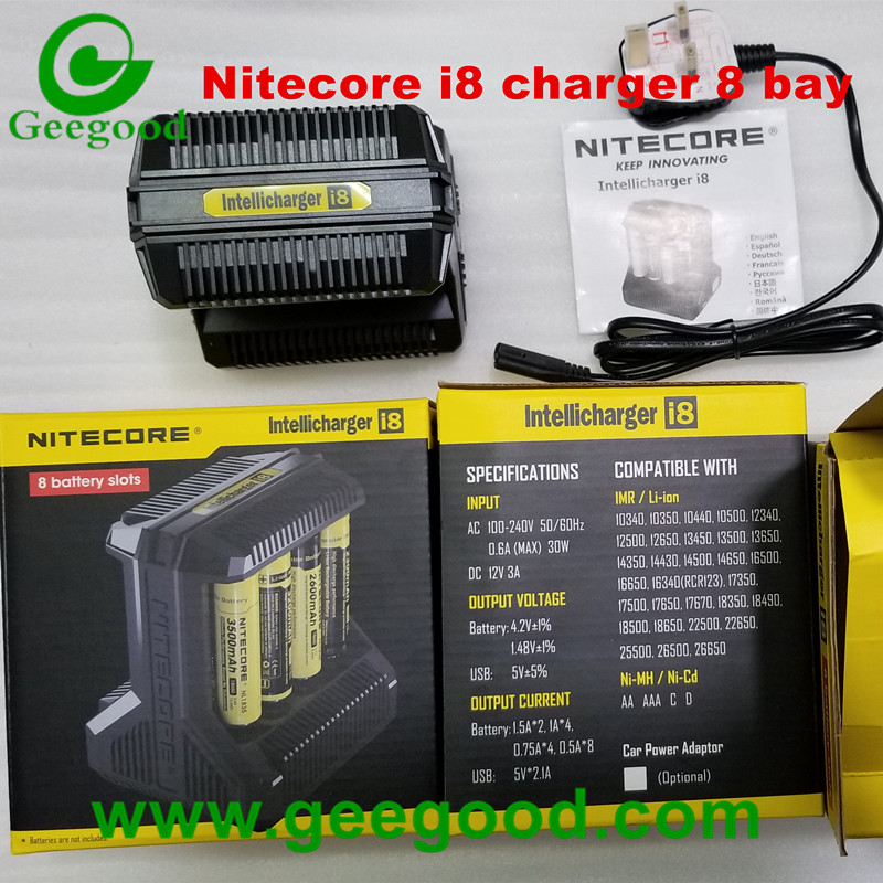 Nitecore charger NEW i2 i4 i8 with LCD display US EU UK AU plug