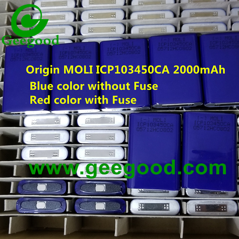 Original E-one MOLI ICP103450CA 3.7V 2000mAh blue color without thermal Fuse