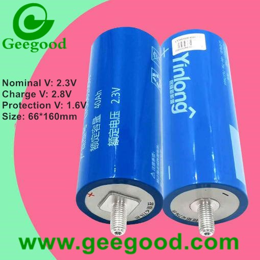 China power lithium titanate battery Yinlong LTO66160H 2.3V 40Ah